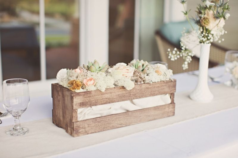 Rustic milk glass and wood crate centerpieces