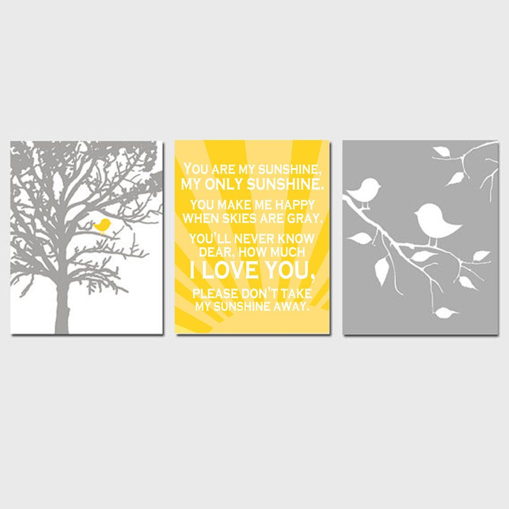 Bird Sunshine Nursery Trio - Set of Three 8x10 Prints - You Are My ...