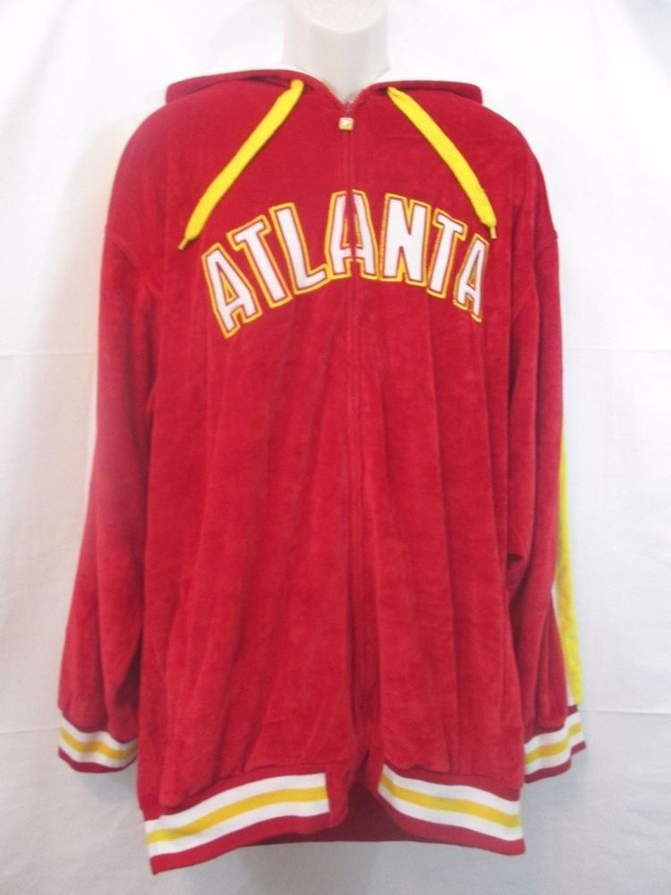 PJ MARK CLASSIC ATHLETIC MEN'S VELOUR ATLANTA HOODED JACKET RED/YELLOW/WHITE XL #PJMark #HoodedZipJacket