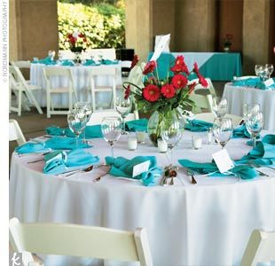 White Table Clothes Tiffany Blue Napkins