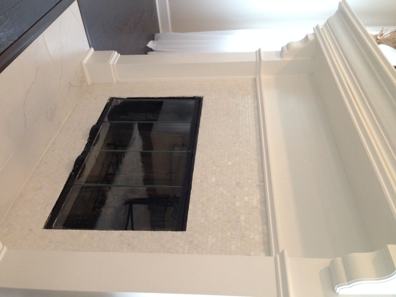 White Brick Pearl Shell Tile | Tiled fireplace, Fireplace ...
