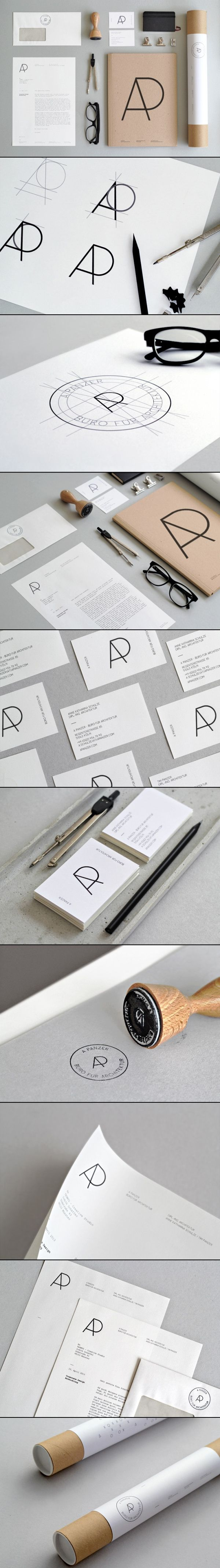 a panzer büro für architektur personal identity simple logos and initials