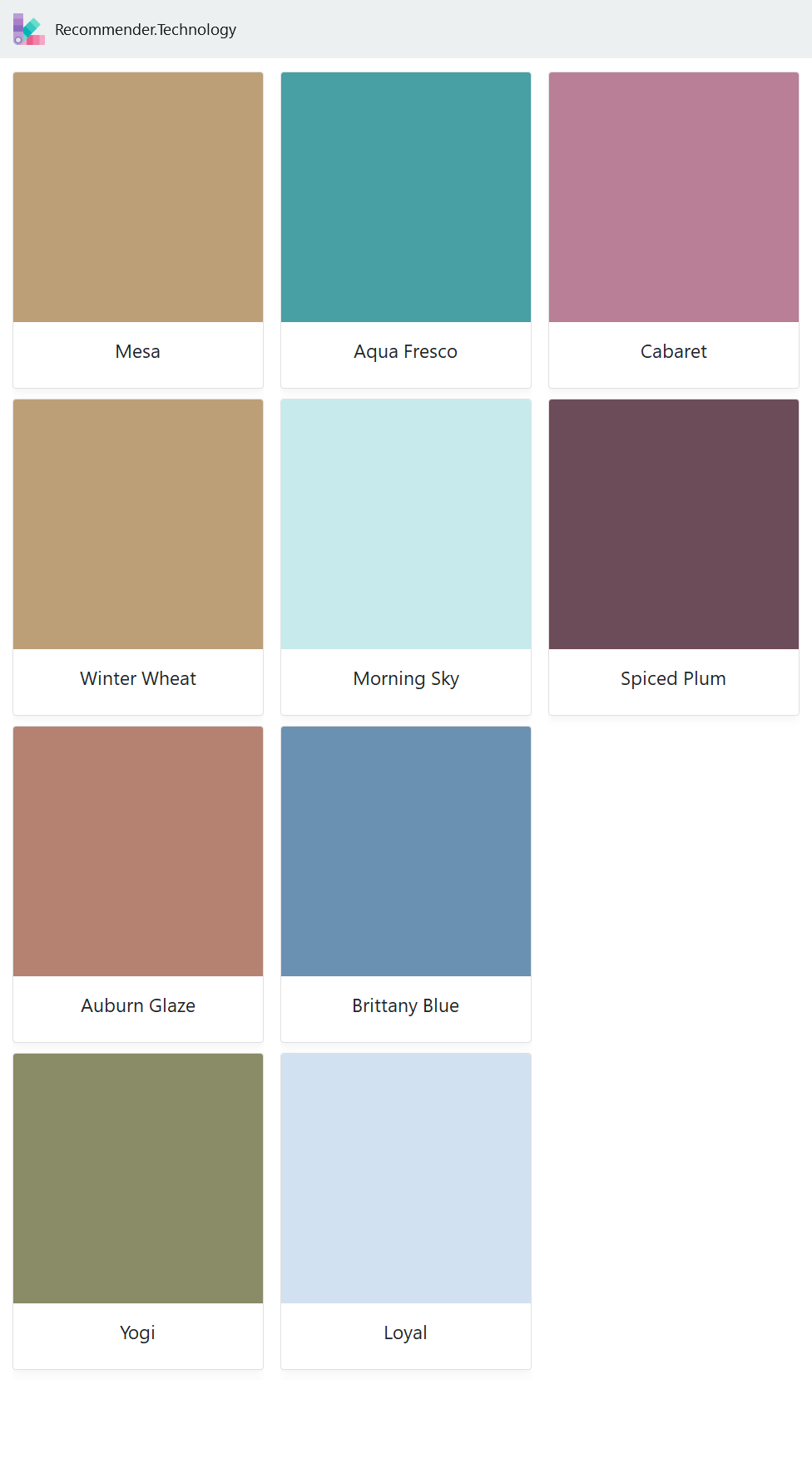 Mesa Winter Wheat Auburn Glaze Yogi Aqua Fresco Morning