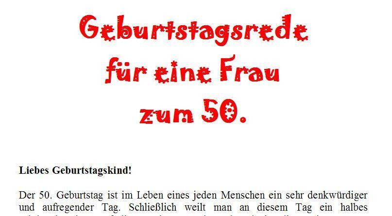 Geburtstagswunsche Zum 50 Geburtstag Einer Frau Unique Rede Zum 50