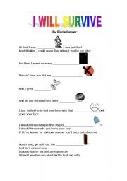 English worksheet: I will survive- song activity | education ...