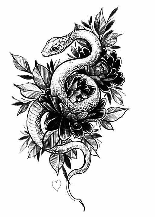 Snake Flower Heart Tattoo Design Drawings Snake Tattoo Design Leg Tattoos