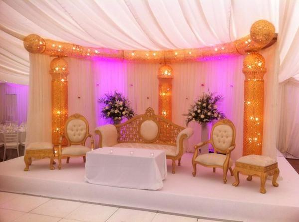 Pink gold sparkly cream nigerian wedding stage event decor stage pink gold sparkly cream nigerian wedding stage event junglespirit Images