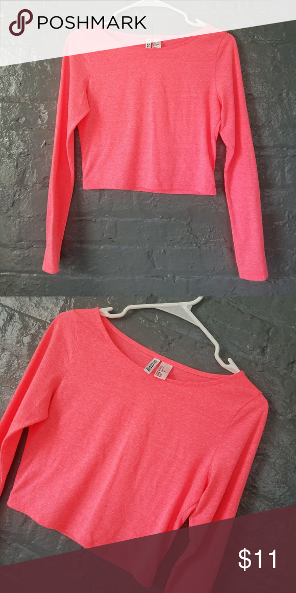 d09680d54059d H M Long sleeve crop top Neon Pink H M Long sleeve crop top TOP RATED  SELLER