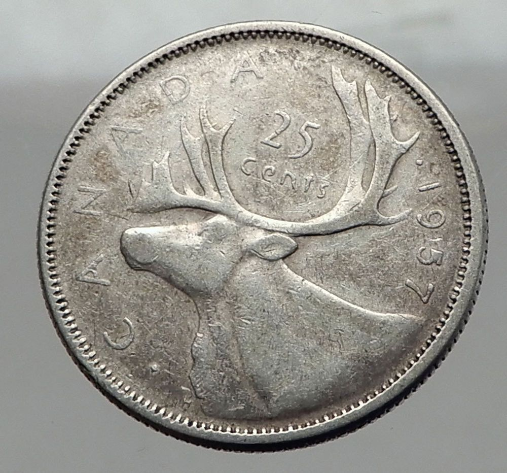 1957 CANADA United Kingdom Queen Elizabeth II Silver 25 Cent