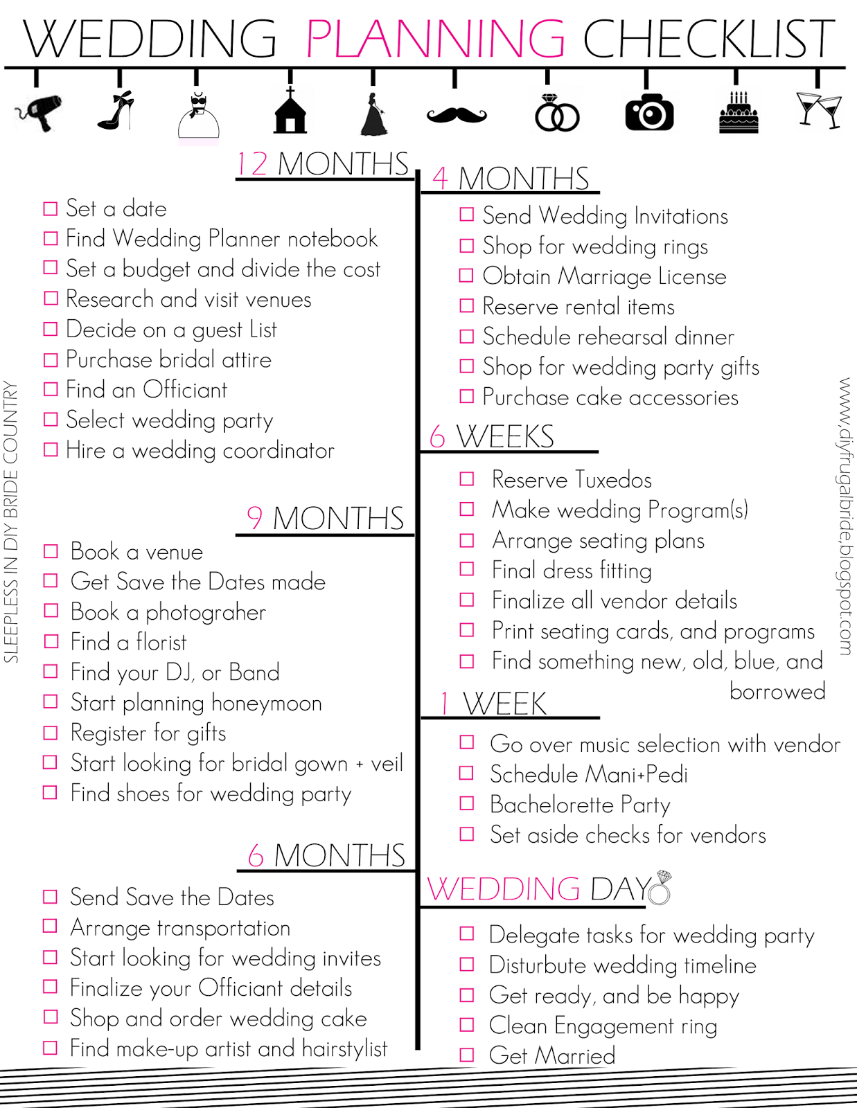 Budget Bride Wedding Checklist And Tips