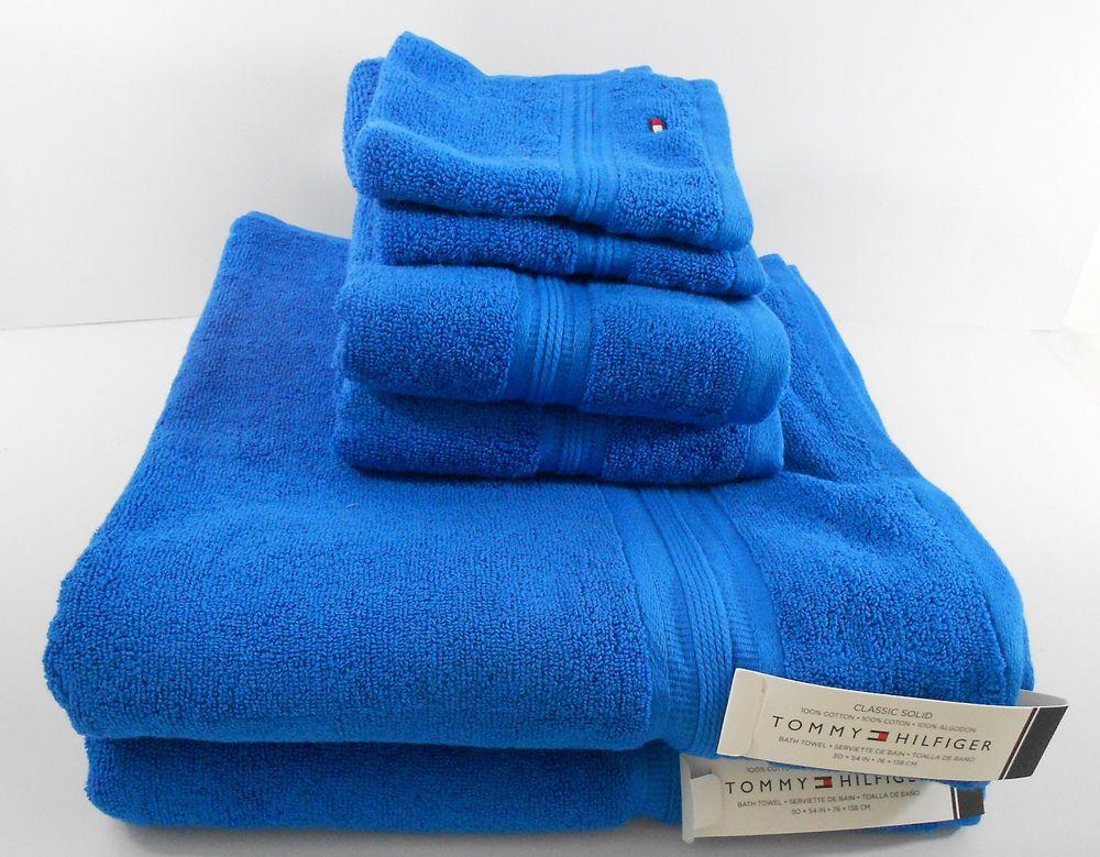 Tommy Hilfiger Classic Solid Bright Blue Bathroom Towel Set 100 Cotton New Home Garden Bath Towels Washcloths Eb Blue Towels Tommy Hilfiger Hilfiger