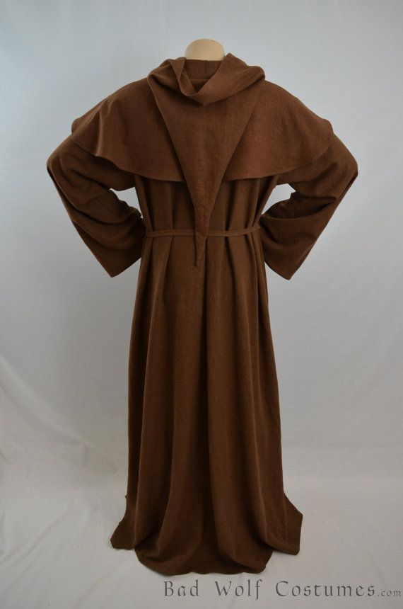 Medieval Monk Costume - Renaissance - Robe and Hood - Friar Tuck ... c15628ecd5a06