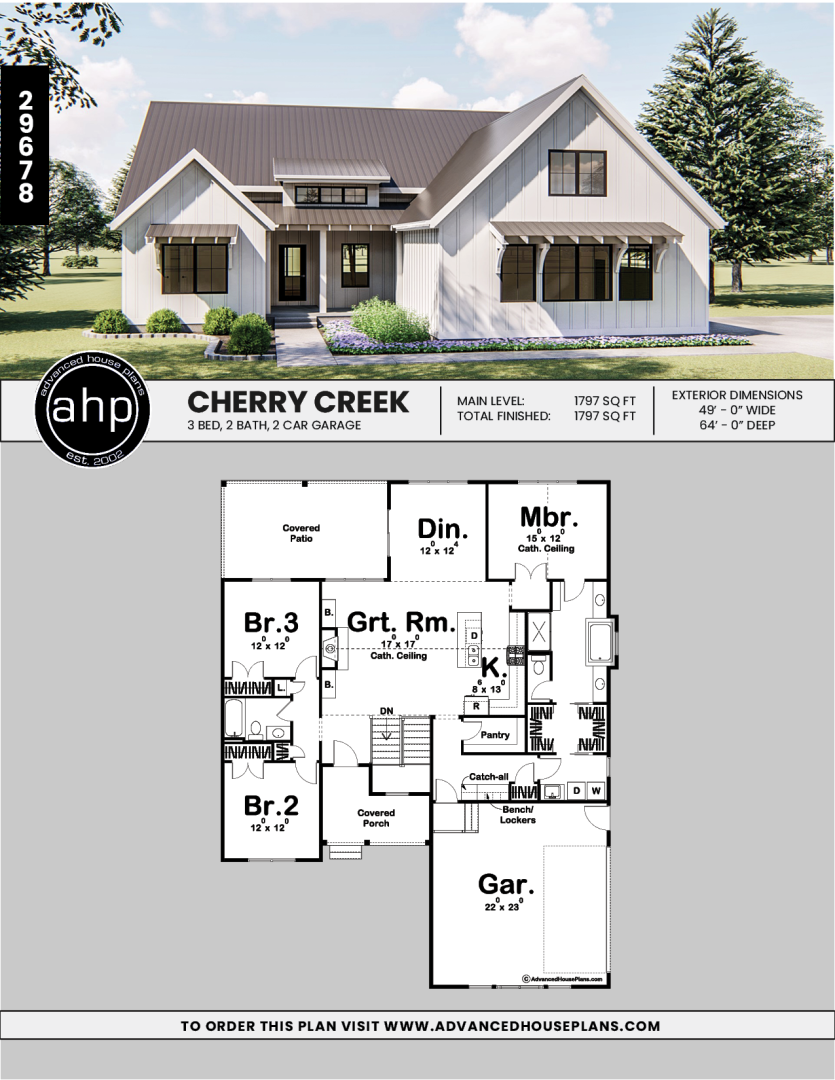 1 Story Modern Farmhouse Plan Cherry Creek Modern Farmhouse Plans House Plans Farmhouse Small Farmhouse Plans