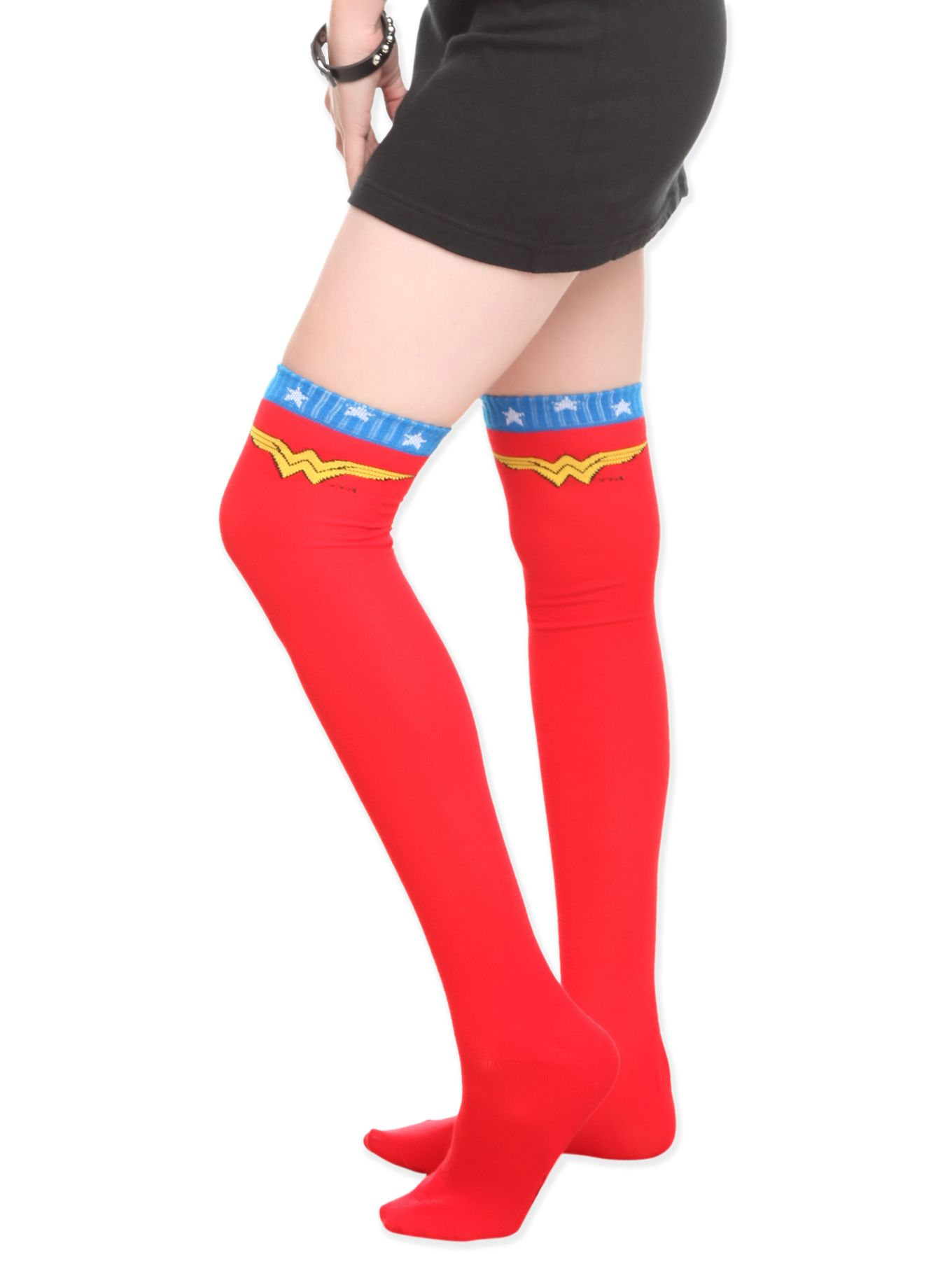 7f76c3d7309 Red over-the-knee socks with blue   white star stripe and Wonder Woman logo  at the top.