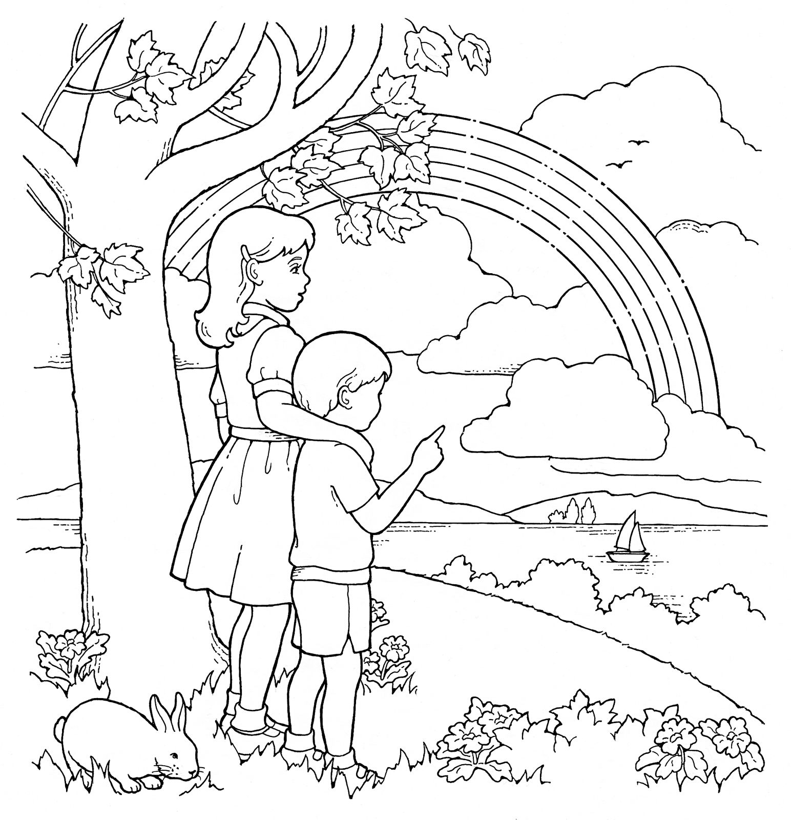 Primary Coloring Page. Children and Rainbow. #ldsprimary