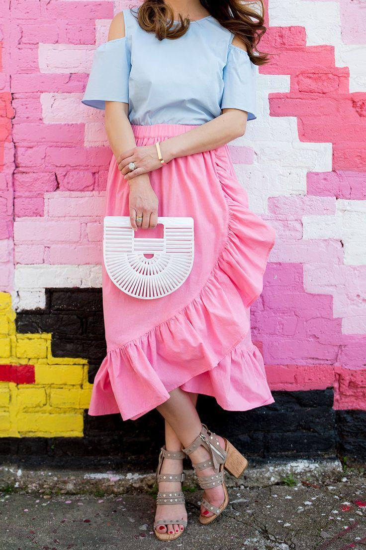 pink wrap ruffle midi skirt pink skirts and wraps