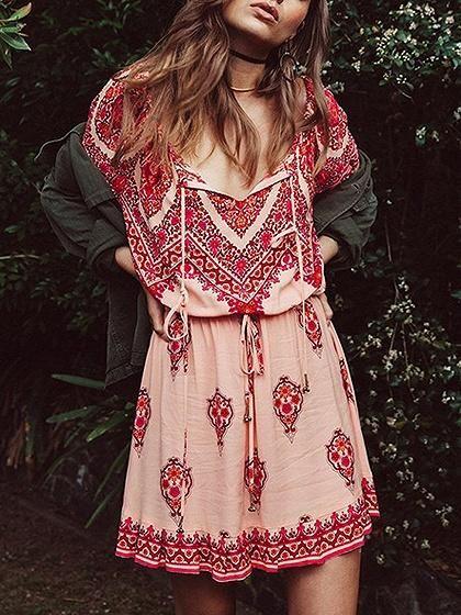 3126161e0534 Red Off Shoulder Floral Print Drawstring Detail Mini Dress ...