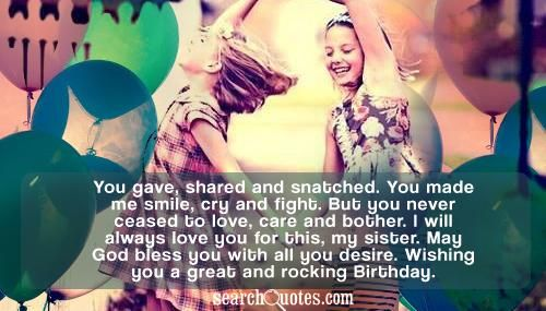Happy Birthday Quotes For Older Sister Our Town – Sister Birthday Greetings Quotes