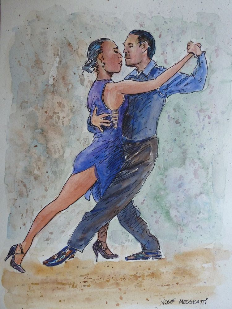 "Original Painting in Watercolors Indian Ink Tango Dancers One-of-a-kind 9"" x 12"" #Realism"