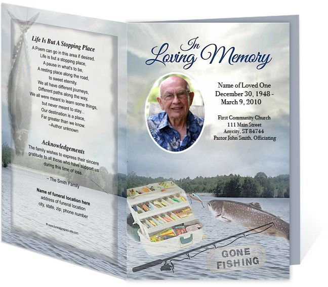Angler FIshing Sports Theme Single Fold Funeral Programs Templates And Obituary  Template  Free Obituary Program Template