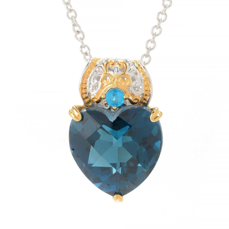 Michael Valitutti Palladium Silver Heart Shaped London Blue
