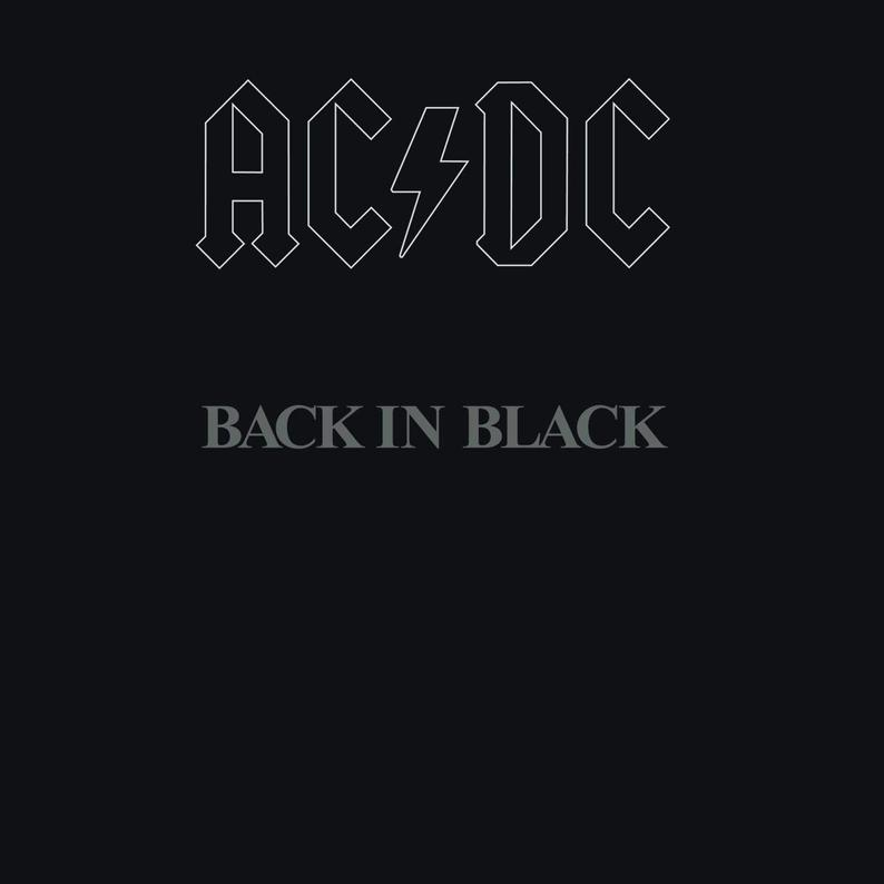 Acdc Back In Black Album Cover Poster 24x24 Inches Etsy In 2020 Back To Black Music Album Cover Acdc