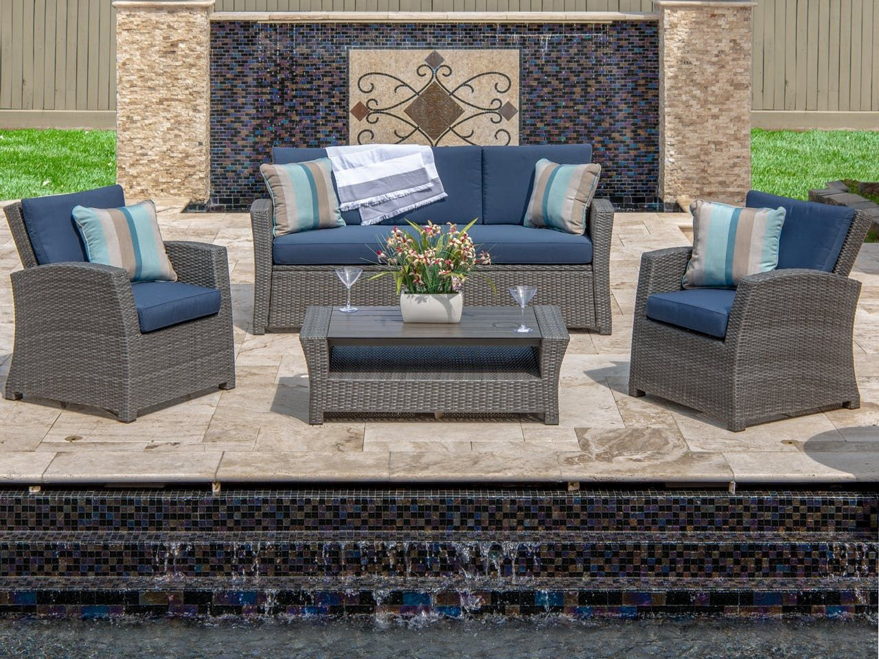 Br What S Included Br Sofa 2 Club Chair With Solution Dyed Olefin Navy Fabic Cushions And 41 X Wicker Sofa Outdoor Outdoor Wicker Outdoor Furniture Sets