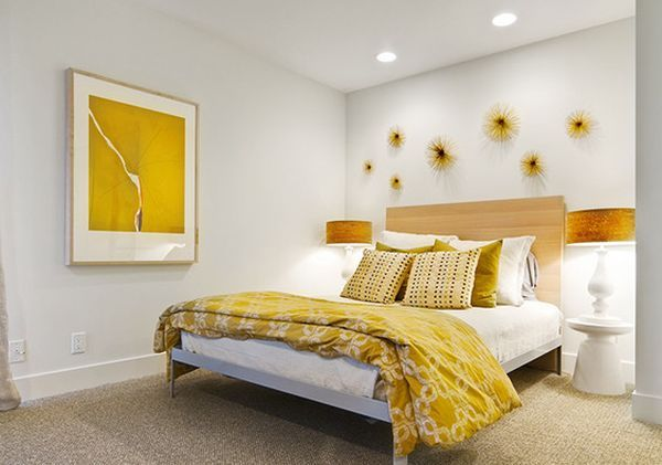 Lovely Stunning Modern Interior Chosen In Golden Accent Color: Simple White And  Yellow Themed Bedroom Interior Decor With Pretty Floral Wall Arts And  Patterned Bed ...