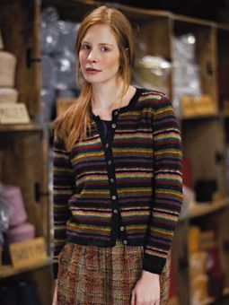 Knit this womens striped cardigan with moss stitch bands from our Tweed Collection. A design by Marie Wallin using Rowan Fine Tweed, a lovely Yorkshire yarn perfect for fairisle and colour work comprising 100% wool. This knitting pattern is suitable for intermediate knitters.