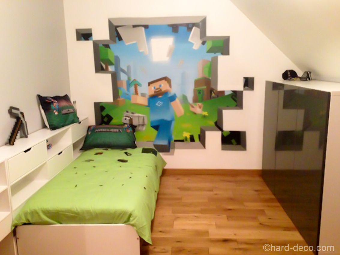 Deco Murale à l\'aerosol : chambre ado jeux vidéos Minecraft - Hard ...