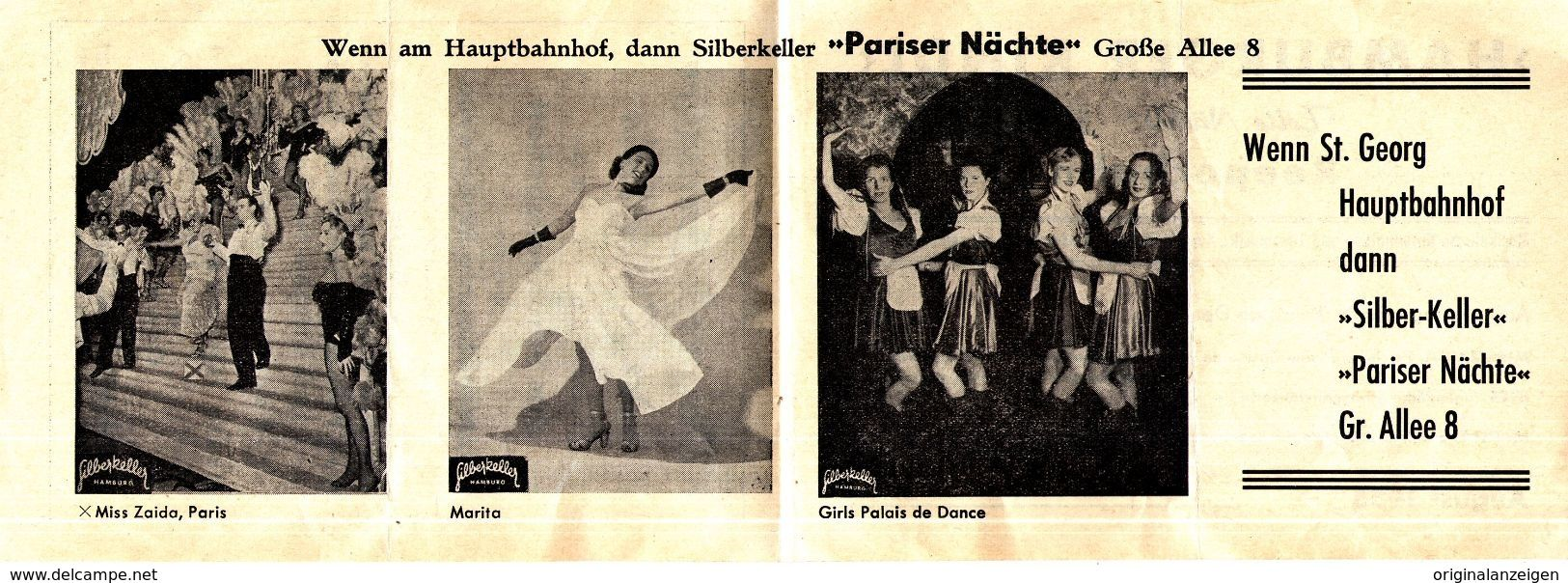 Original Werbung Faltprospekt 4 Seiter 1955 Reeperbahn