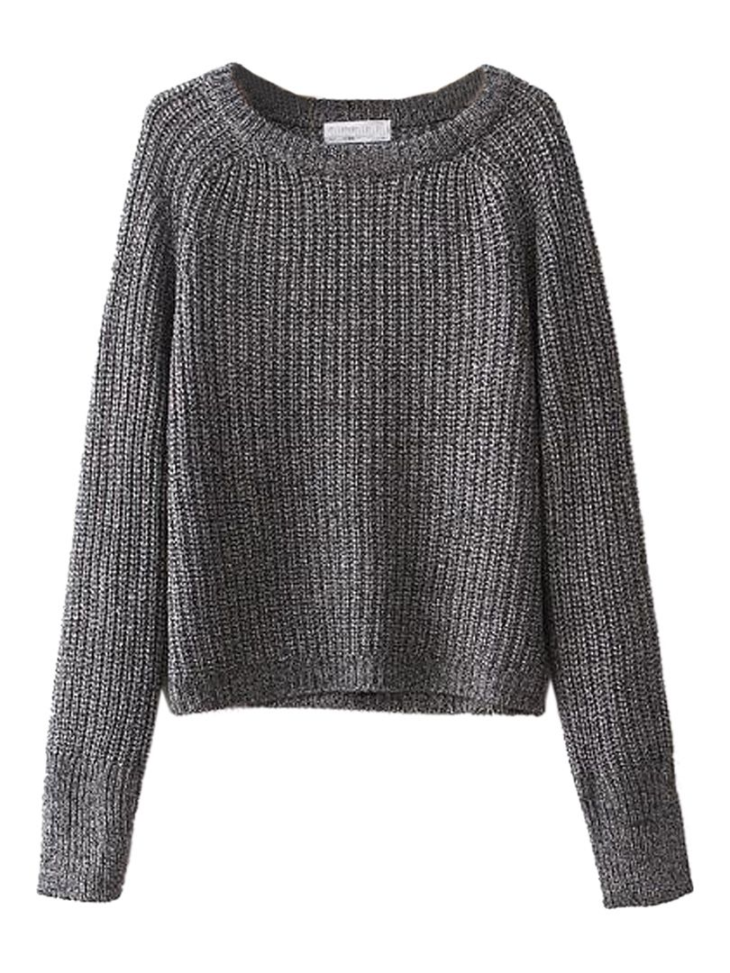 Gray Long Sleeve Baisc Crop Knit Sweater | Choies | Apparel ...