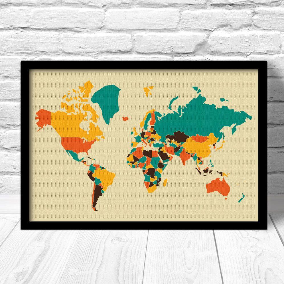 World map retro pop art map modern style world map world map for world map art print pop art map modern style world map world map gumiabroncs Gallery