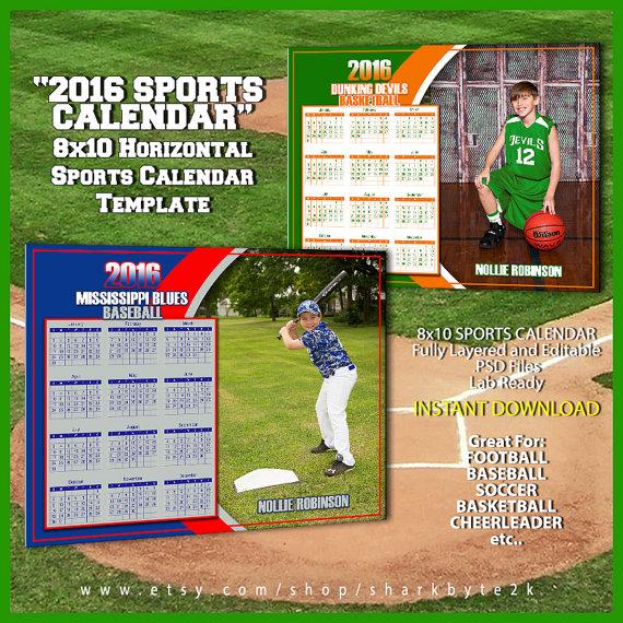 2016 Calendar Template For Sports Great For Baseball Football