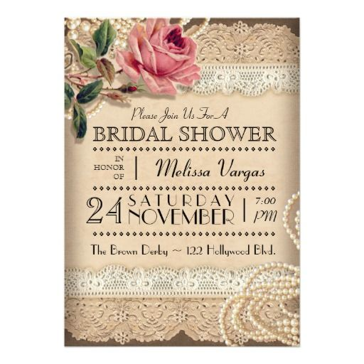 Vintage Rose Bridal Shower Invitations Rustic And Perhaps A Bit