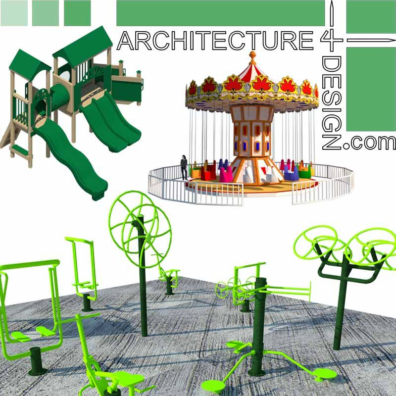Amusement park rides and playground equipment, SketchUp 3D ...