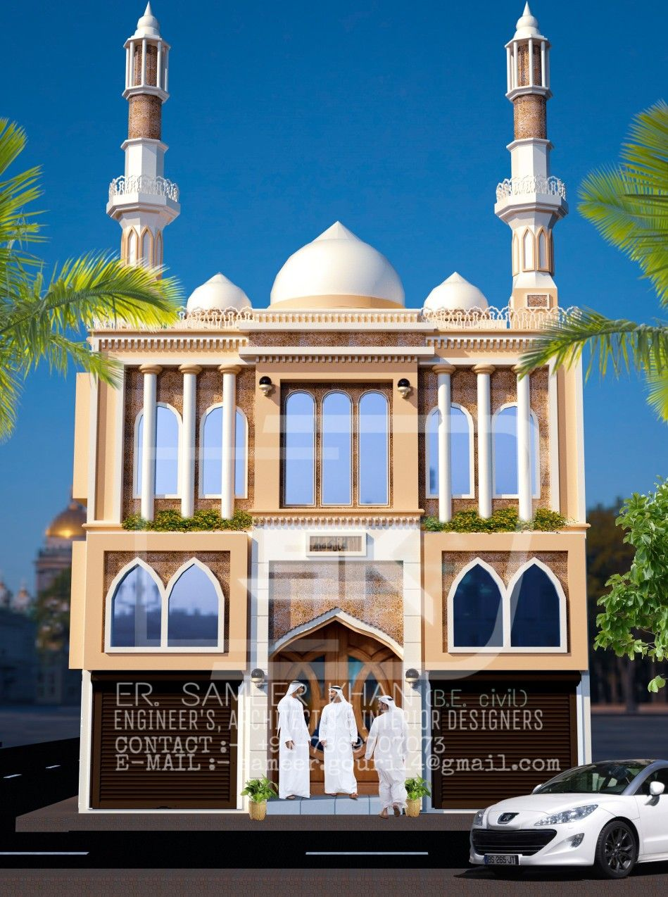 Introducing indian mosque exterior elevation design with