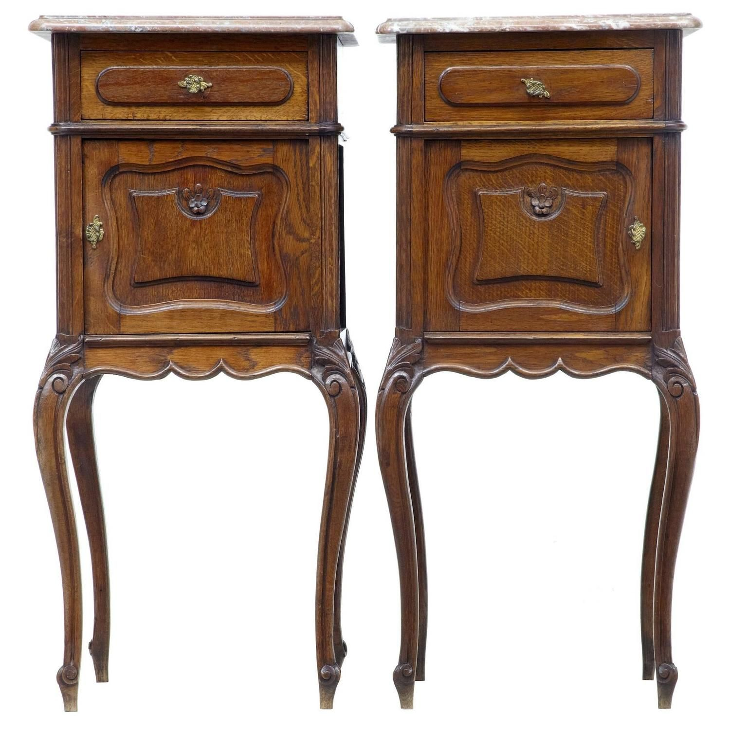 Pair of th century french oak marbletop nightstands marble top
