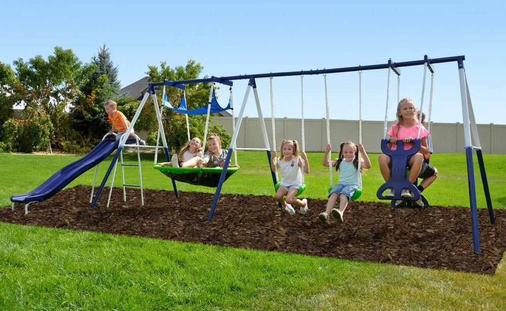 Kids Outdoor Metal Swing Set Heavyduty Slide Flying Saucer Roman Glider Game Fun Sportspower Kidsoutdoor Metalswings Metal Swing Sets Swing Set Metal Swings