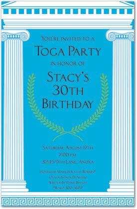 Roman themed party invitation k a r n e v a l pinterest mega toga birthday party invitations stopboris Images