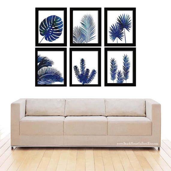 Photo of Indigo Botanical Prints, Blue Palm Wall Art Set 6, Tropical Decor, Blue Botanical, Tropical Leaves Print, Blue Wall art, Blue White Leaves