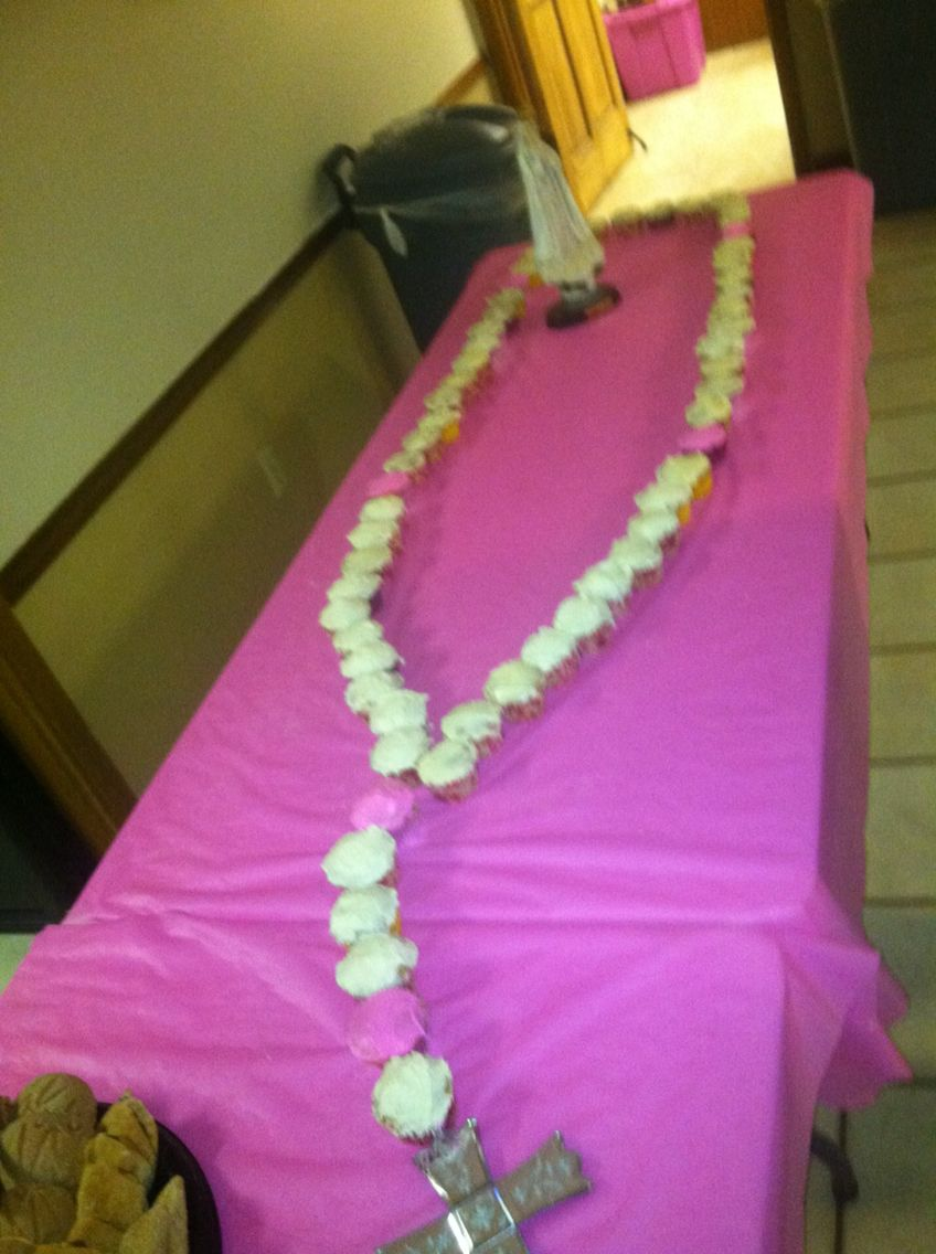 Pink and white Fatima rosary