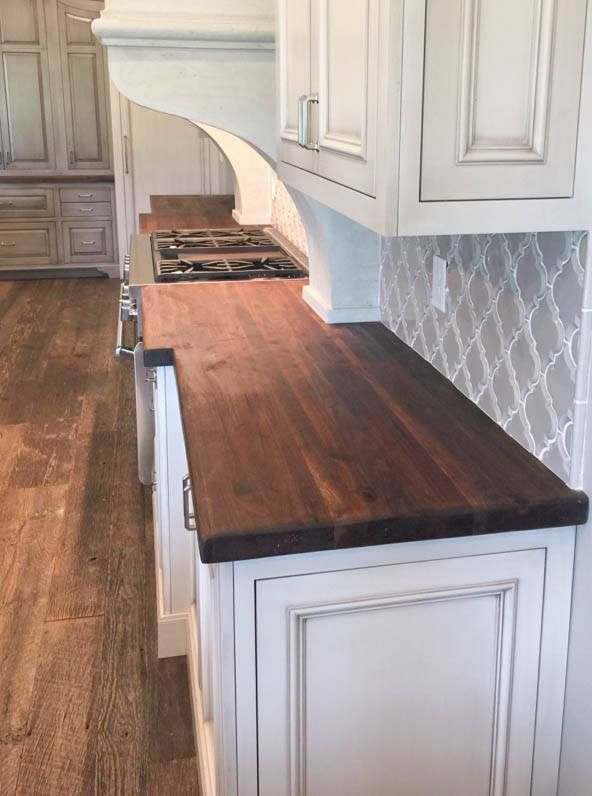 White Kitchen With Walnut Butcher Block Countertop : Tung Oil & Beeswax finish on this Black Walnut Top ? Home Stuff in 2019?