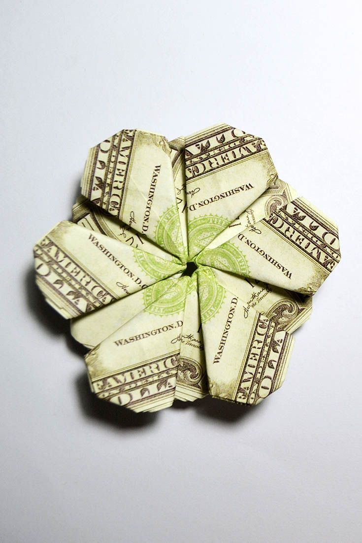 Money Beautiful Flower Origami Folded Dollar Tutorial Diy No Glue
