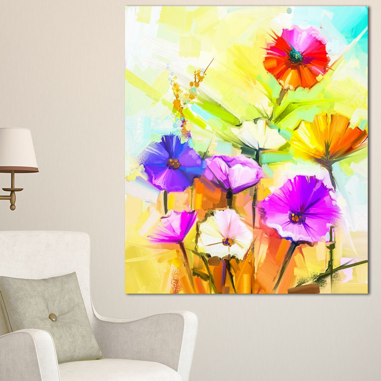 DESIGN ART Designart 'Colorful Gerbera Flowers Painting' Floral Canvas Artwork