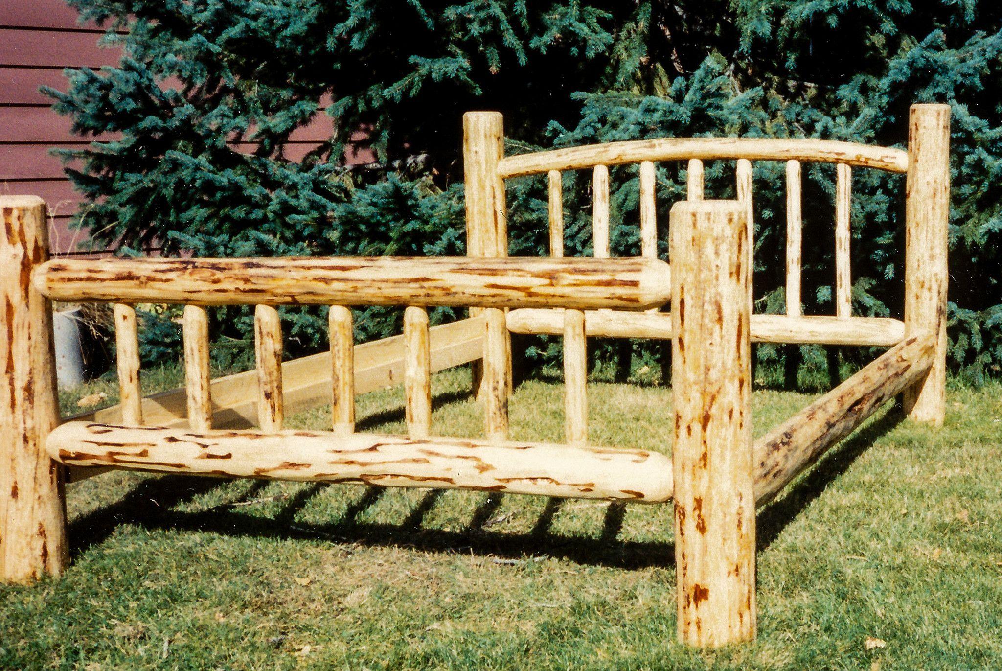 Handmade Lodgepole Pine Log Bed with Curved Headboard
