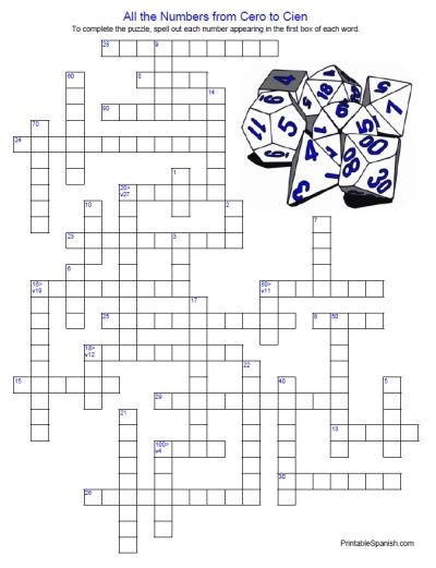 image regarding Printable Spanish Crossword Puzzle referred to as Game titles For Spanish Quantities 1 100 Video games Environment