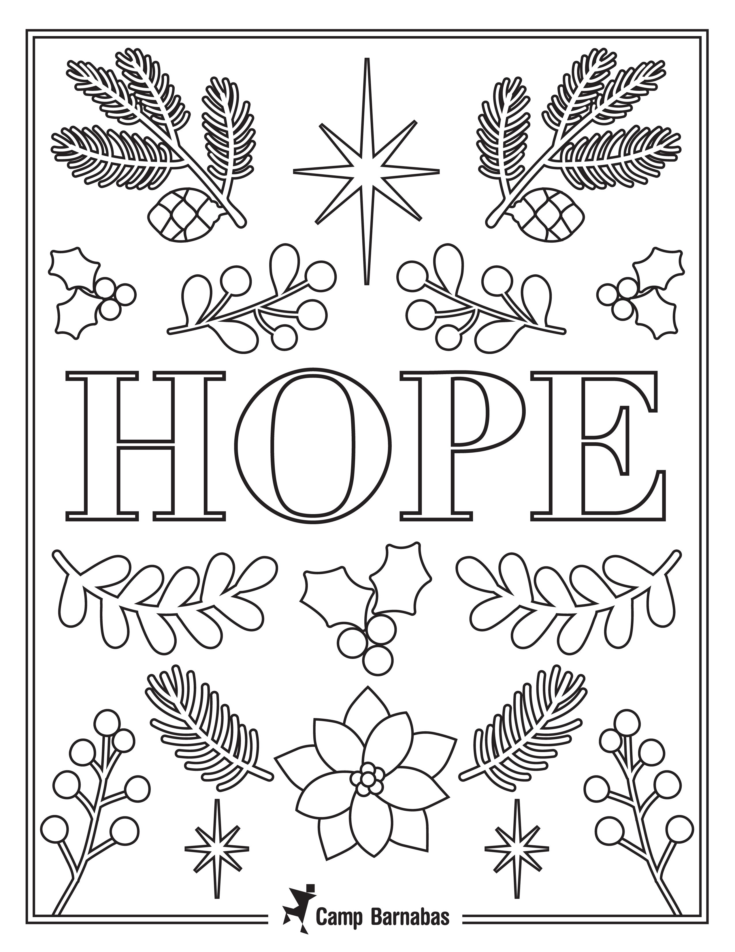 Hope Color Sheet Christmas Fun Home Decor Decals Coloring Sheets