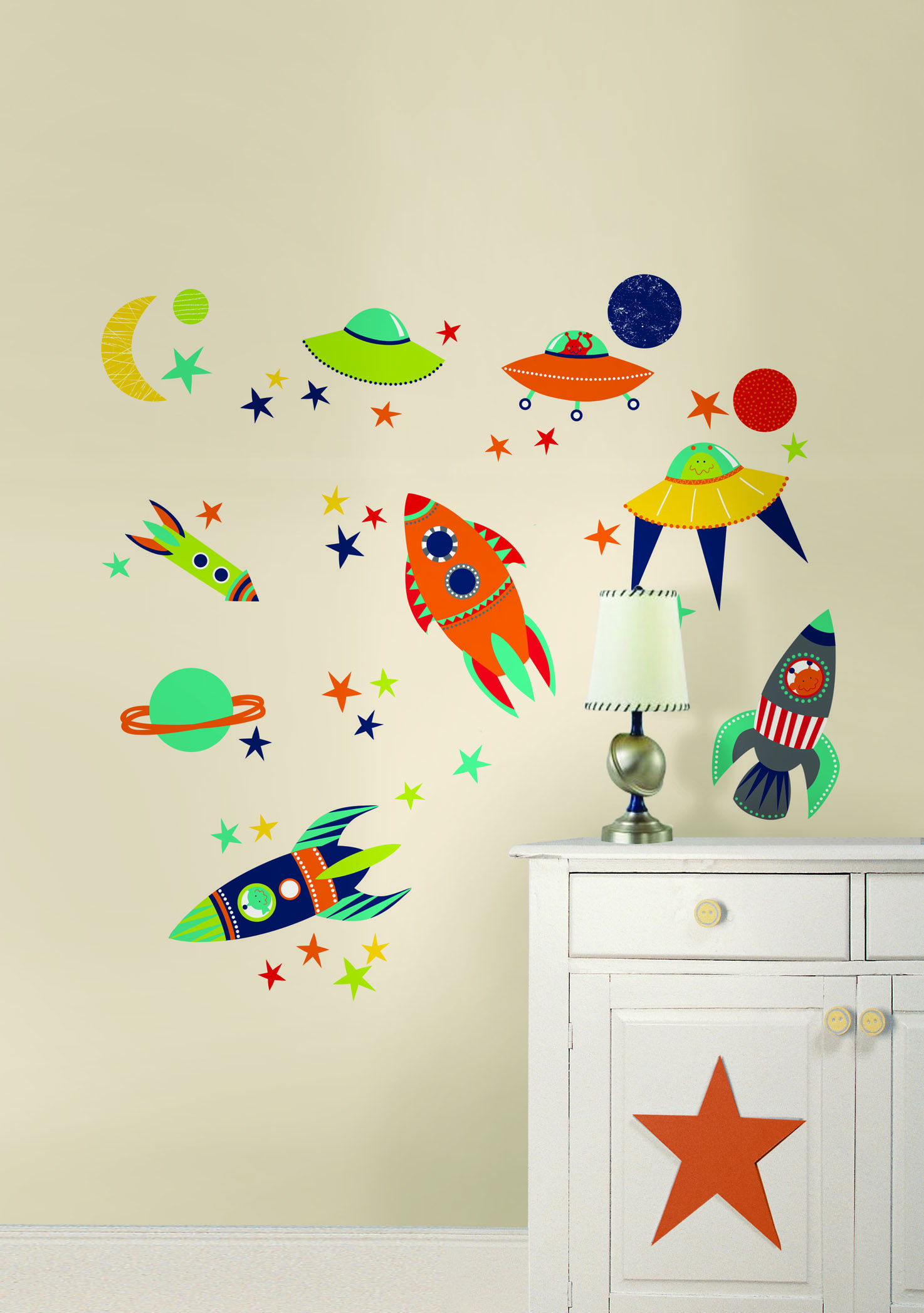 Wallpops Blast Off Wall Art Kit E Theme Decals With Ufos Rockets Planets The Moon And Stars Great For Kids Decor Especially Por A