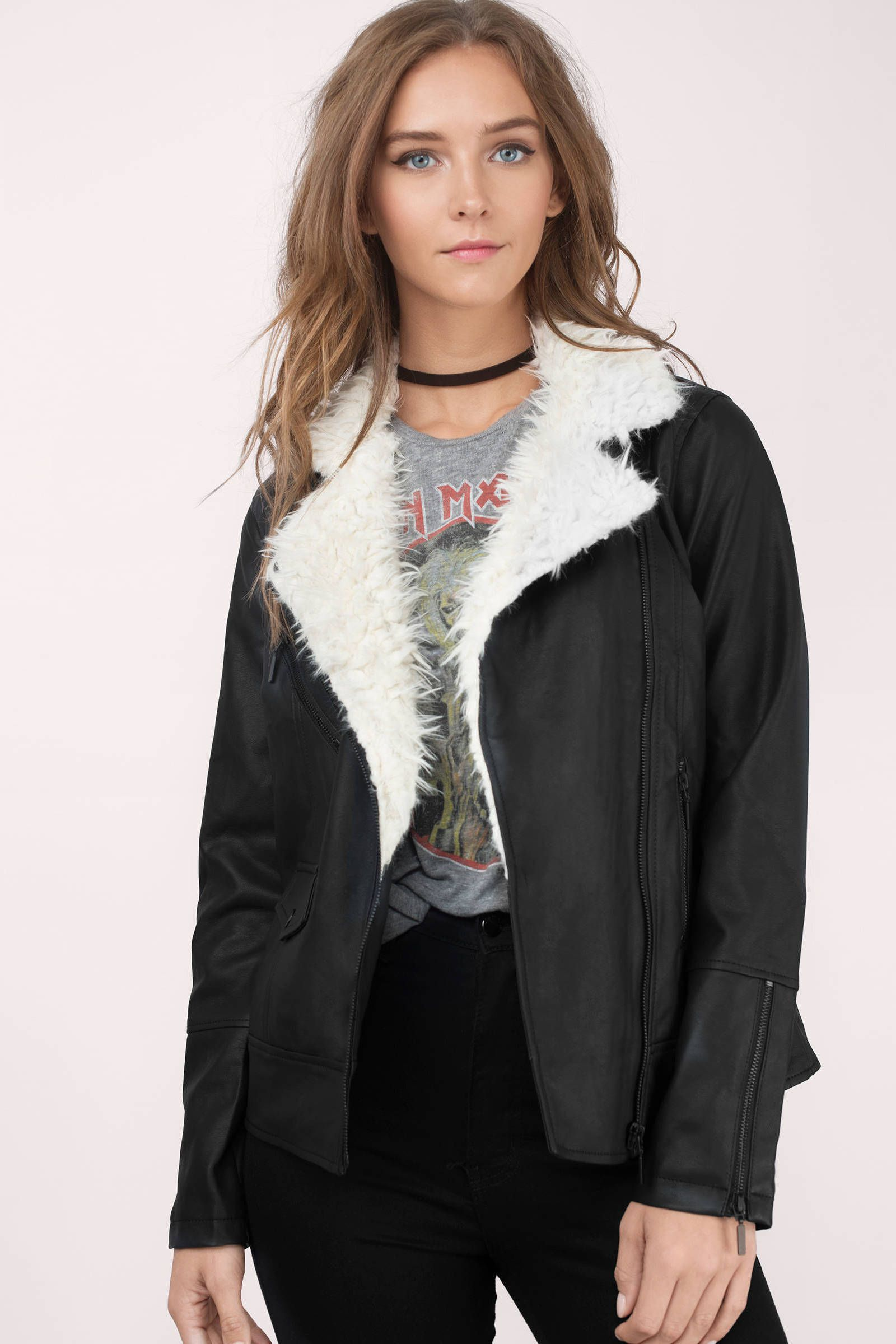 Rachel Cook Jackets, Fur collars, Edgy moto jacket